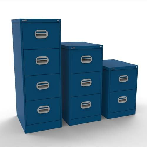 Silverline Kontrax 4 Drawer Elliptical Handle Foolscap Filing Cabinet - Blue