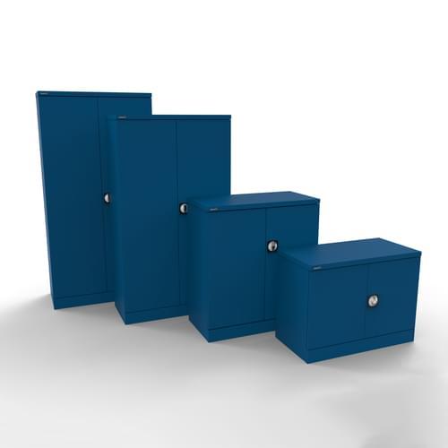 Silverline Kontrax 2 Door Cupboard with 3 Shelves - Flat Pack - Blue
