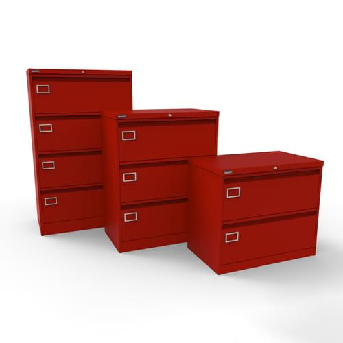 Silverline Kontrax 2 Drawer Foolscap Side Filing Cabinet - Red