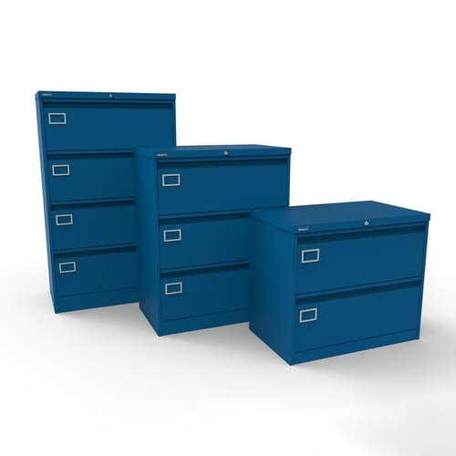Silverline Kontrax 4 Drawer Foolscap Side Filing Cabinet - Blue