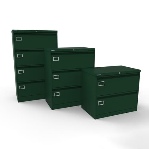 Silverline Kontrax 3 Drawer Foolscap Side Filing Cabinet - British Racing Green