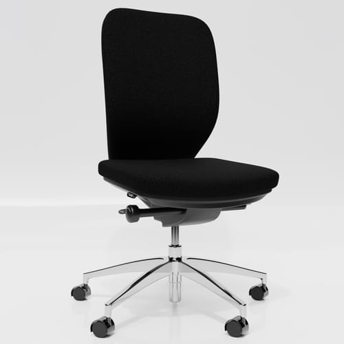 Lily Upholstered Back Premium Chrome Base Task Chair - No Arms - Black