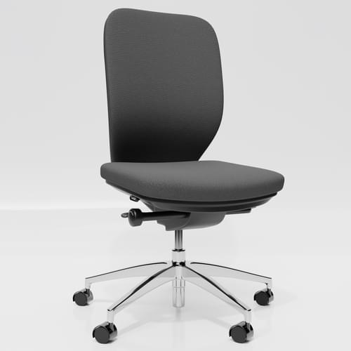 Lily Upholstered Back Premium Chrome Base Task Chair - No Arms - Grey