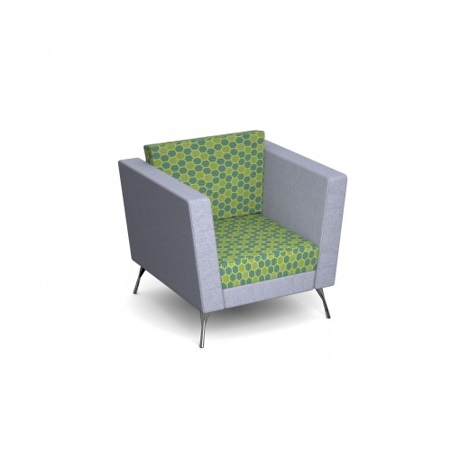 Lyric reception seating armchair with metal legs 900mm wide - made to order