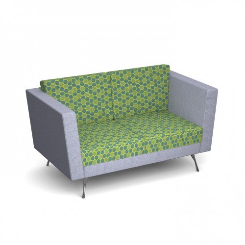 Lyric reception chair two seater with metal legs 1450mm wide - made to order - Band C