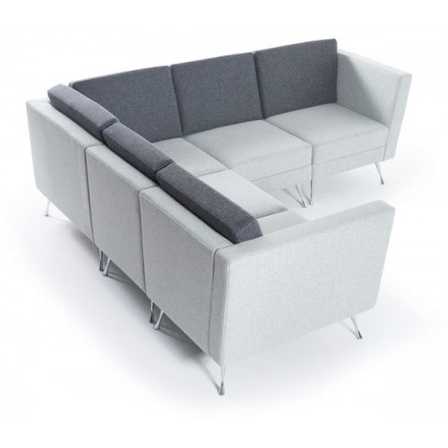 Lyric modular soft seating chair with right arm and metal legs - made to order