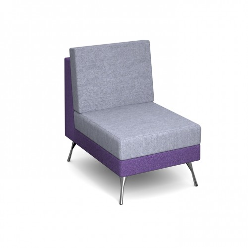Lyric modular soft seating chair with no arms and metal legs - made to order