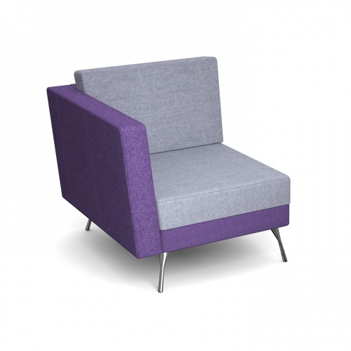Lyric modular soft seating chair with right arm and metal legs - made to order - Band C