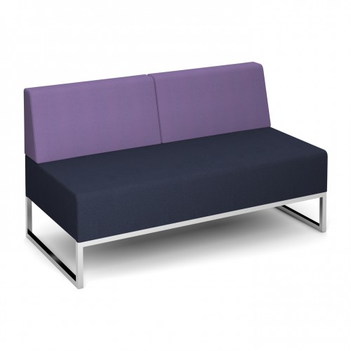 Nera modular soft seating double bench with double back fully upholstered - made to order - Band C