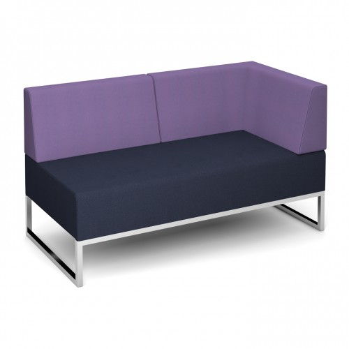 Nera modular soft seating double bench with back and left arm fully upholstered - made to order - Band C