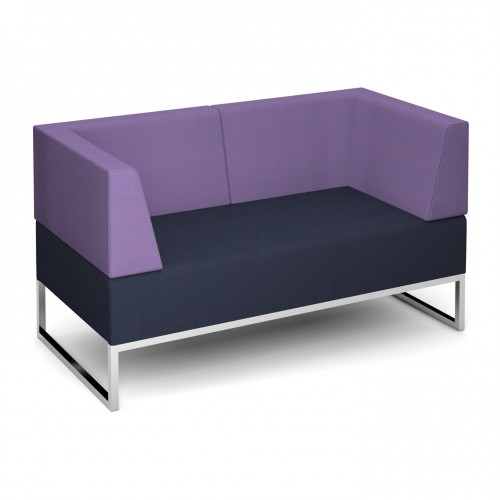 Nera modular soft seating double bench with double back and arms fully upholstered - made to order - Band C