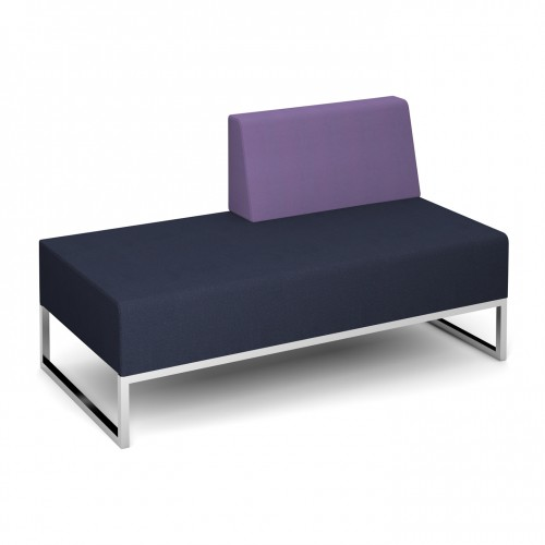 Nera modular soft seating double bench with left hand back fully upholstered - made to order