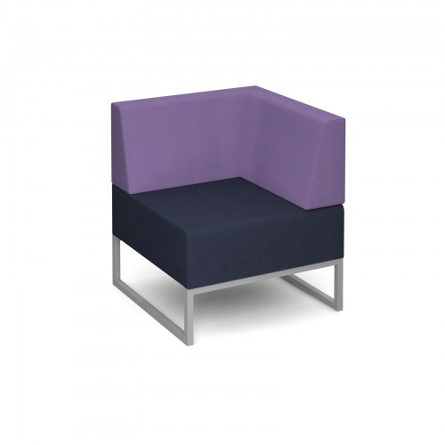 Nera modular soft seating single bench with back and left arm fully upholstered - made to order