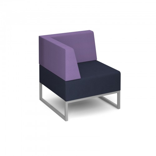 Nera modular soft seating single bench with back and right arm fully upholstered - made to order - Band B