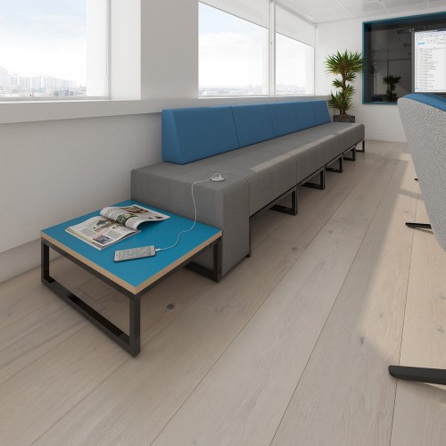 Nera modular soft seating double bench with back and left arm fully upholstered - made to order