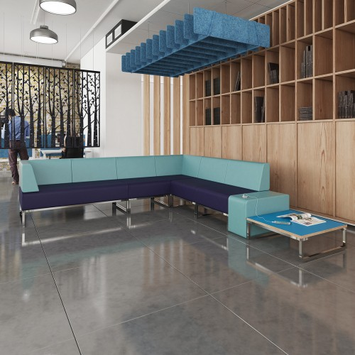 Nera modular soft seating double bench with left hand back and arm fully upholstered - made to order