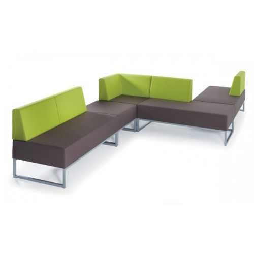 Nera modular soft seating double bench with back and right arm fully upholstered - made to order