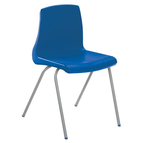 Metalliform NP Traditional Stackable Classroom Chairs - 460mm High Age 14-Adult - Blue with Grey Legs
