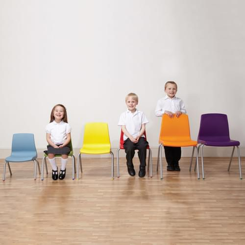 Metalliform NP Traditional Stackable Classroom Chairs - 380mm High 8-11 Years - Tangy Green with Grey Legs