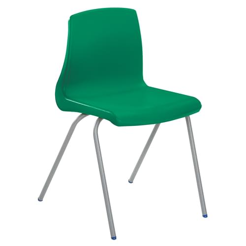 Metalliform NP Traditional Stackable Classroom Chairs - 460mm High Age 14-Adult - Green with Grey Legs