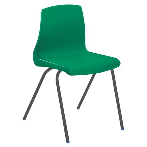 Metalliform NP Traditional Stackable Classroom Chairs - 460mm High Age 14-Adult - Green with Black Legs