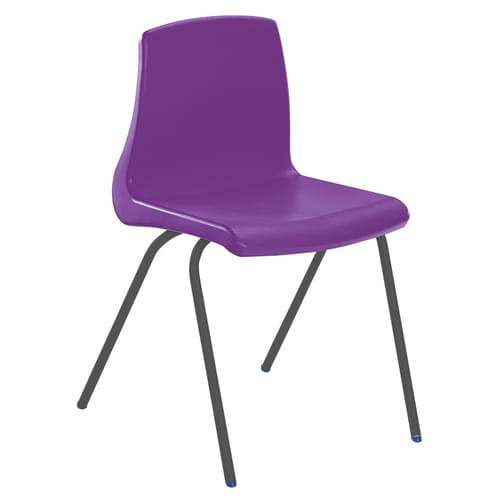 Metalliform NP Traditional Stackable Classroom Chairs - 460mm High Age 14-Adult - Purple with Black Legs