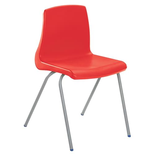 Metalliform NP Traditional Stackable Classroom Chairs - 380mm High 8-11 Years - Red with Grey Legs