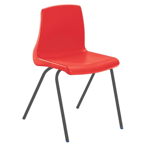 Metalliform NP Traditional Stackable Classroom Chairs - 350mm High 6-8 Years - Red with Black Legs