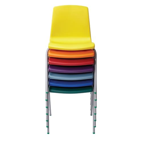 Metalliform NP Traditional Stackable Classroom Chairs - 380mm High 8-11 Years - Green with Black Legs