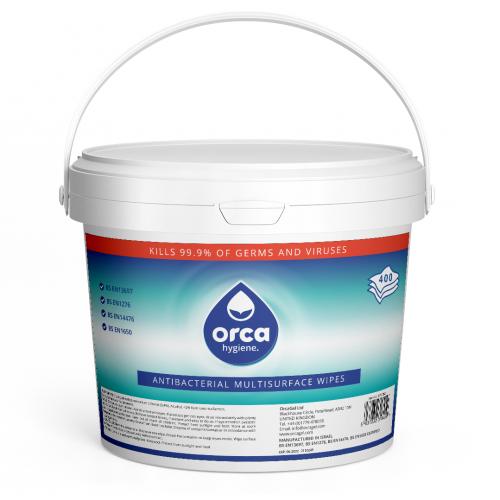 OrcaWipe Antibacterial Wipes - Tub of 400 Wipes