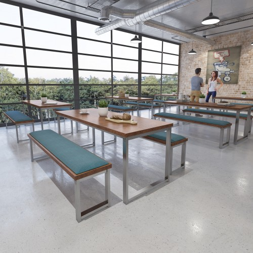 Otto Urban Industrial benching solution dining table 2400mm wide with 25mm MDF top - made to order