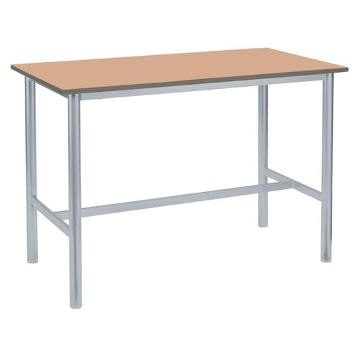 Metalliform Premium Round Frame Welded School Craft and Science Table - 1200 x 750mm - Beech 760mm High