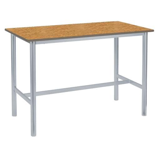 Metalliform Premium Round Frame Welded School Craft and Science Table - 1200 x 600mm - Oak 760mm High