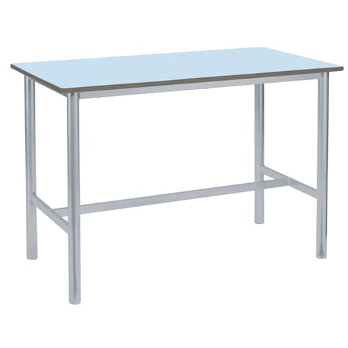 Metalliform Premium Round Frame Welded School Craft and Science Table - 1500 x 750mm - Speckled Icey Blue 800mm High
