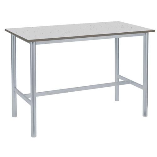 Metalliform Premium Round Frame Welded School Craft and Science Table - 1500 x 750mm - Speckled Pastel Grey 900mm High