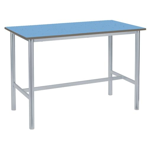 Metalliform Premium Round Frame Welded School Craft and Science Table - 1500 x 750mm - Speckled Powder Blue 1000mm High