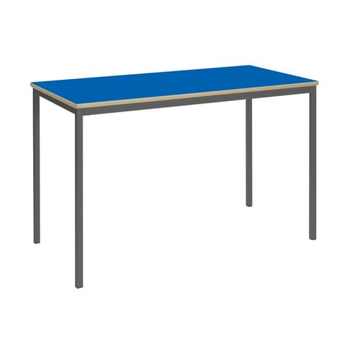 Metalliform Fully Welded Classroom Rectangular MDF Edge 1200mm Table - 760mm High - Blue and Black