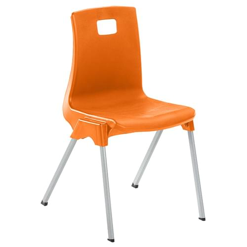 Metalliform School Classroom ST Stackable Linking Chairs - 460mm High 14-Adult - Orange