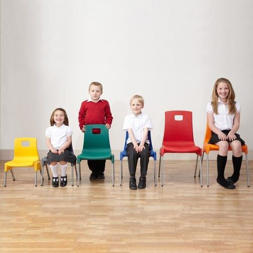 Metalliform School Classroom ST Stackable Linking Chairs - 350mm High 6-8 Years - Charcoal