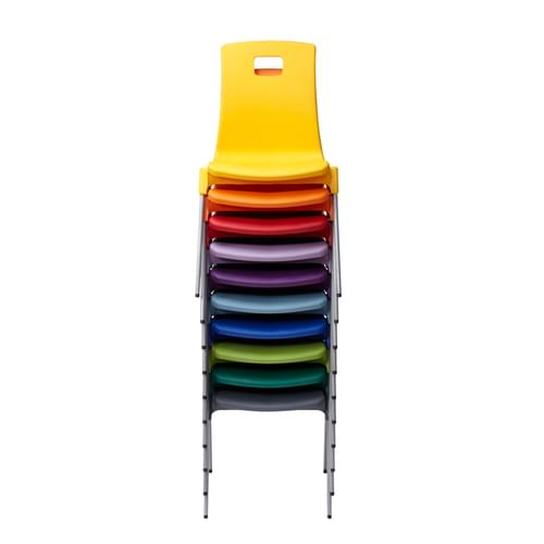 Metalliform School Classroom ST Stackable Linking Chairs - 430mm High 11-14 Years - Yellow