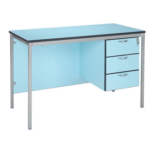 Metalliform Fully Welded Premium Frame 3 Drawer Teachers Desk - 1200 x 600mm - Soft Blue