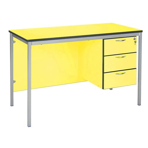 Metalliform Fully Welded Premium Frame 3 Drawer Teachers Desk - 1200 x 600mm - Canary Yellow