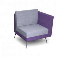 Lyric modular soft seating chair with left arm and metal legs - made to order