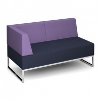Nera modular soft seating double bench with back and right arm fully upholstered - made to order - Band C