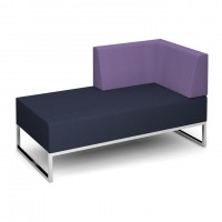 Nera modular soft seating double bench with left hand back and arm fully upholstered - made to order - Band C