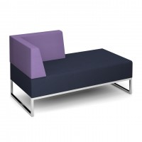 Nera modular soft seating double bench with right hand back and arm fully upholstered - made to order