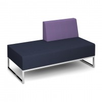 Nera modular soft seating double bench with left hand back fully upholstered - made to order - Band C