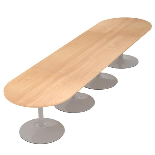Trumpet base radial end boardroom table 4000mm x 1000mm - silver base and beech top
