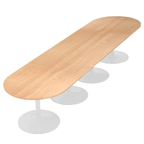 Trumpet base radial end boardroom table 4000mm x 1000mm - white base and beech top