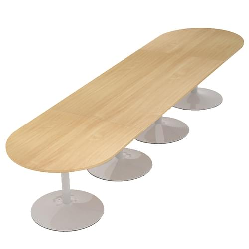Trumpet base radial end boardroom table 4000mm x 1000mm - chrome base and oak top